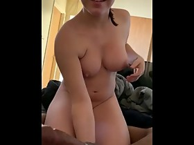 Young pregnant wife mouthcum