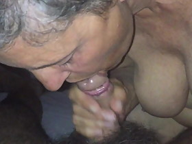 Paola worships the man by sucking his cock and rubbing it o