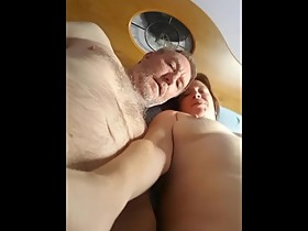 Talking to wife as boyfriend fingers her wet cunt