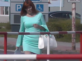 Candid Pervert #22 (tight panites, cyan dress, white heels)