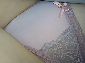 Wife Secretly filmed in Peach Satin and Lace Thong.