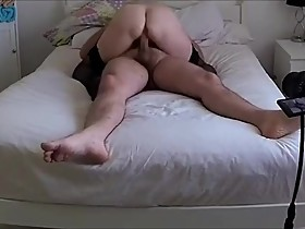 Hubby helps his wife and bull to fuck