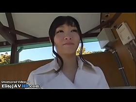Japanese beauty gives blowjob outdoor
