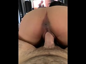 Tight Asian wife with perfect ass rides husbands BWC until creampie